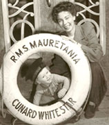 Helen Grant Hitchon and her son Alan on board the RMS Mauretania, February 5, 1946.